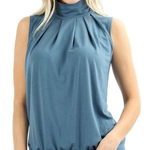 Tops - NWT Blue Mock Neck Pleated front Top